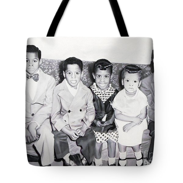 Children Sitting On Sofa Tote Bag by Chelle Brantley