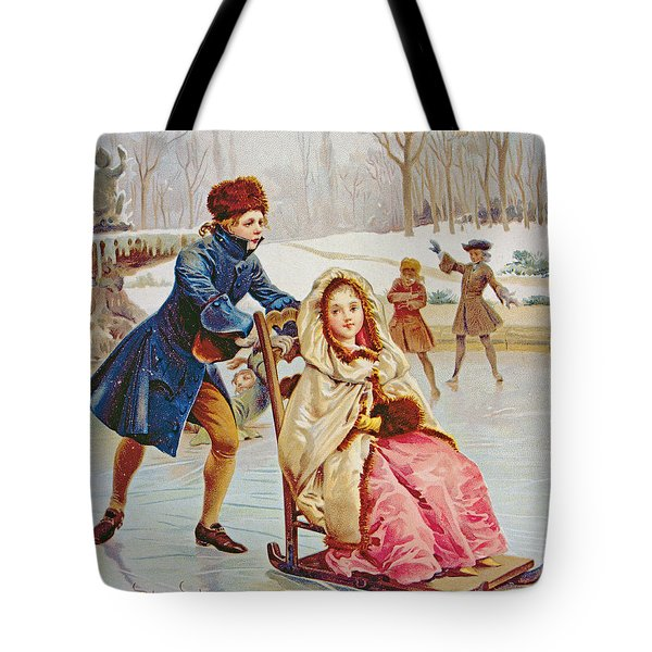 Children Skating Tote Bag by Maurice Leloir