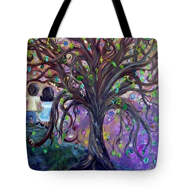 Tote Bag featuring the painting Children Under The Fantasy Tree With Jackie Joyner-kersee by Eloise Schneider