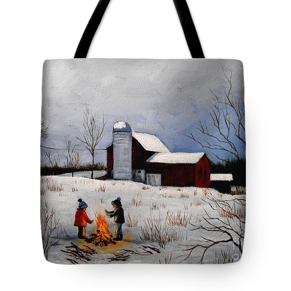Children Warming Up By The Fire Tote Bag