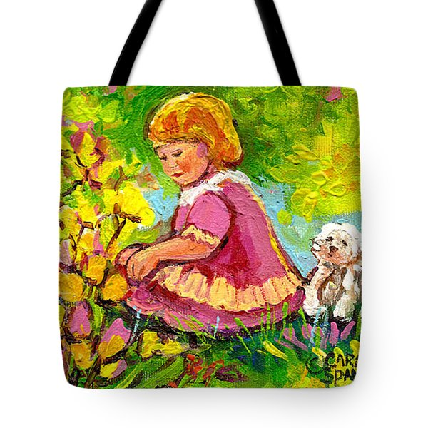 Children's Art - Little Girl With Puppy - Paintings For Children Tote Bag by Carole Spandau