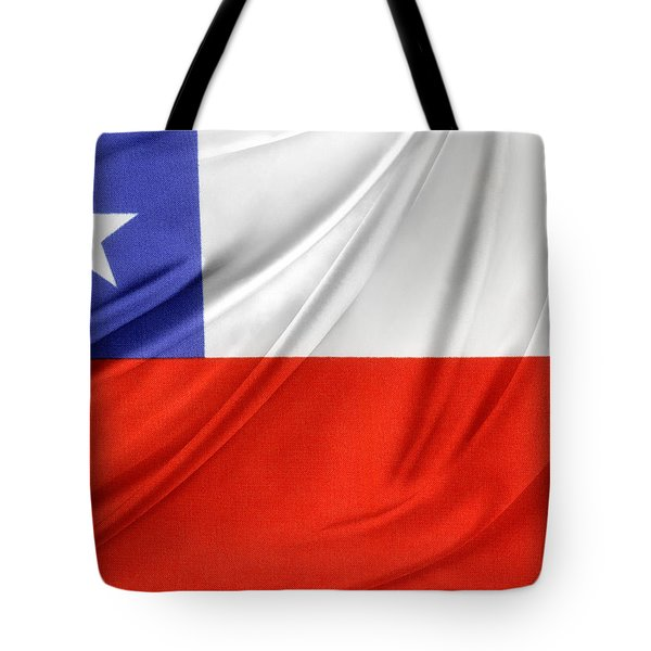 Chile Flag  Tote Bag by Les Cunliffe