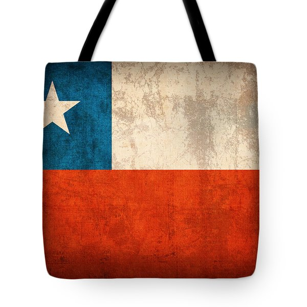 Chile Flag Vintage Distressed Finish Tote Bag