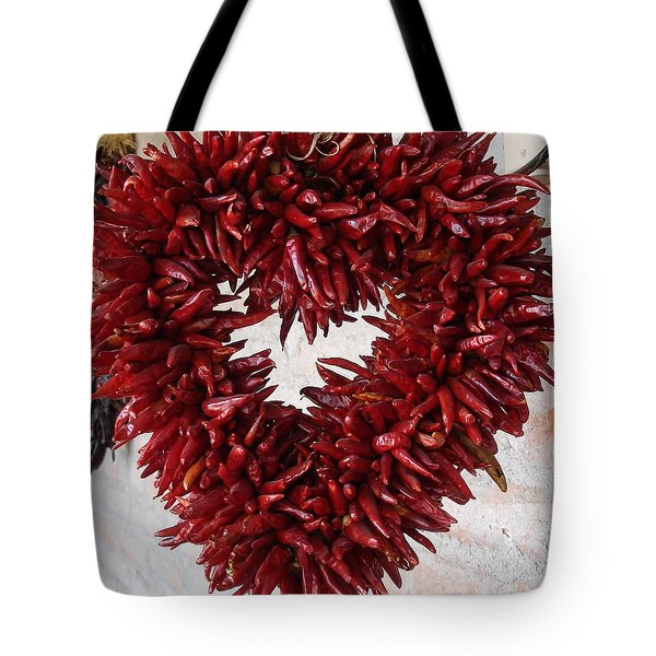 Tote Bag featuring the photograph Chili Pepper Heart by Kerri Mortenson