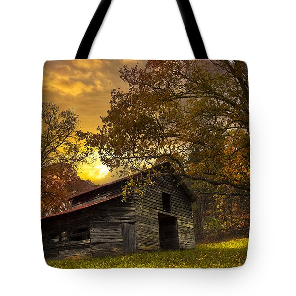Chill Of An Early Fall Tote Bag by Debra and Dave Vanderlaan