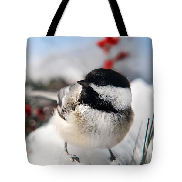 Chilly Chickadee Tote Bag by Christina Rollo