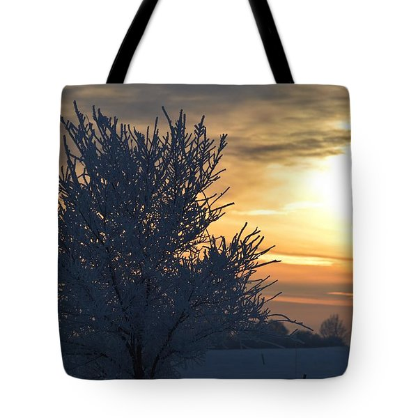 Tote Bag featuring the photograph Chilly Sunrise by Dacia Doroff