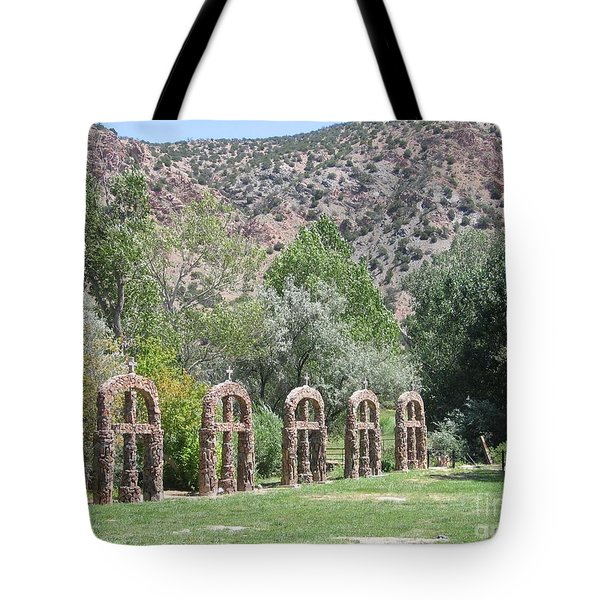 Tote Bag featuring the photograph Chimayo Sanctuary In New Mexico by Dora Sofia Caputo Photographic Art and Design