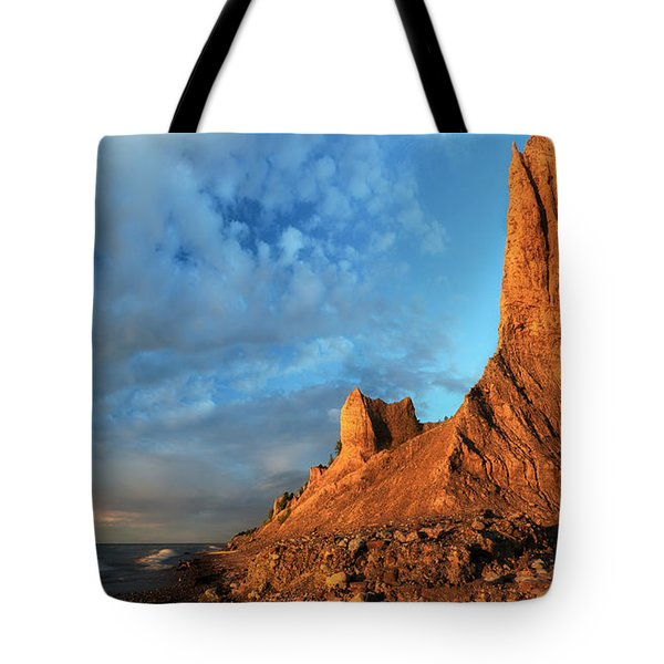 Chimney Bluffs 2 Tote Bag by Mark Papke