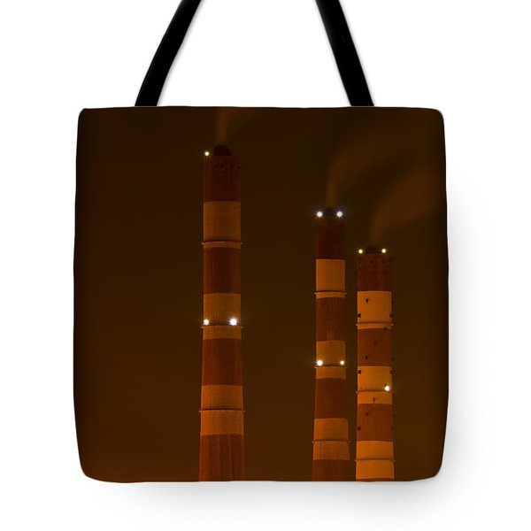 Chimney Of Thermal Power Plant In Night Tote Bag