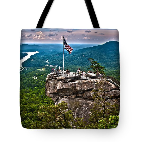 Tote Bag featuring the photograph Chimney Rock At Lake Lure by Alex Grichenko