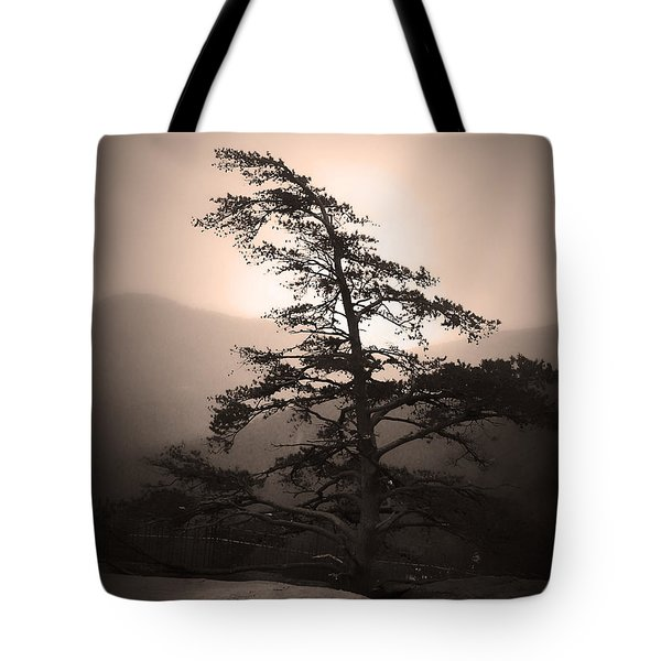 Chimney Rock Lone Tree In Sepia Tote Bag