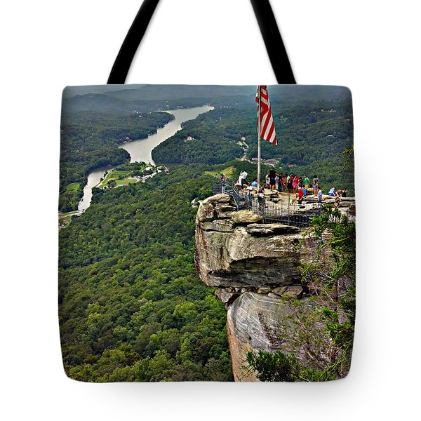 Tote Bag featuring the photograph Chimney Rock Overlook by Alex Grichenko