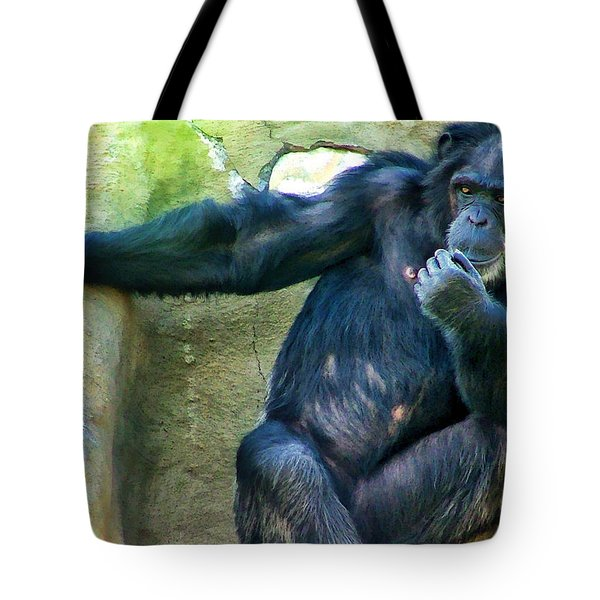 Tote Bag featuring the photograph Chimp 1 by Dawn Eshelman
