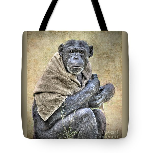 Tote Bag featuring the photograph Chimpanzee by Savannah Gibbs