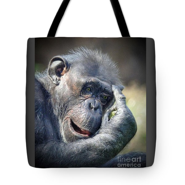 Tote Bag featuring the photograph Chimpanzee Thinking by Savannah Gibbs