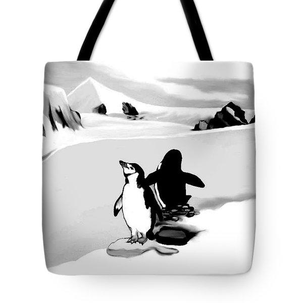 Chin Strap Penguins Tote Bag