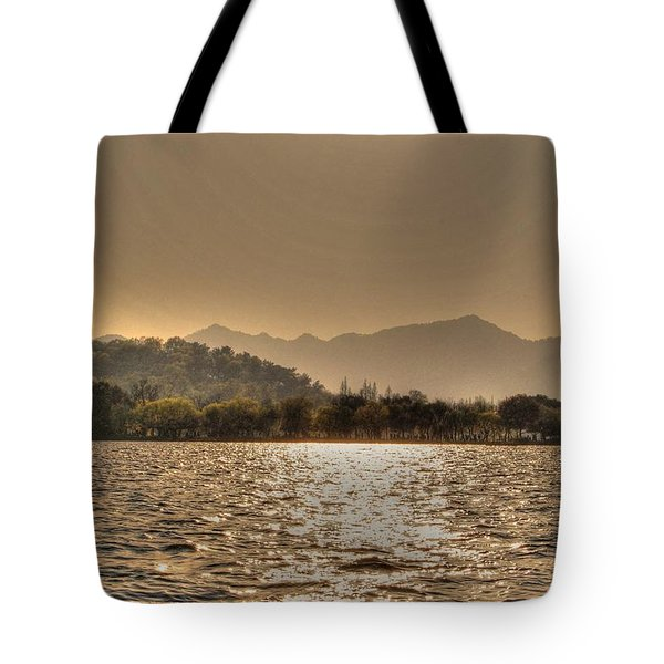 China Lake Sunset Tote Bag