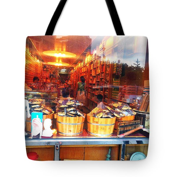 Tote Bag featuring the photograph Chinatown Nyc Herb Shop by Joan Reese