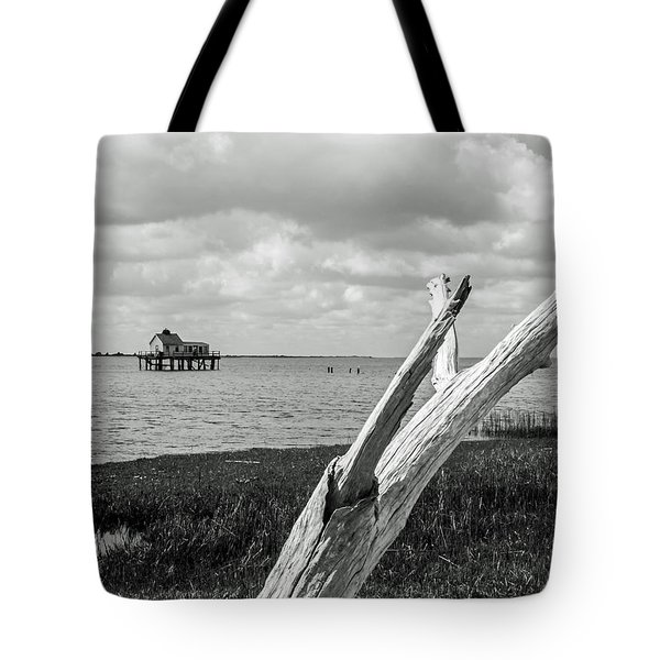 Chincoteague Oystershack Bw Vertical Tote Bag by Photographic Arts And Design Studio