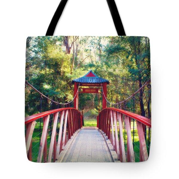 Chinese Bridge Wandiligong Tote Bag by Linda Lees