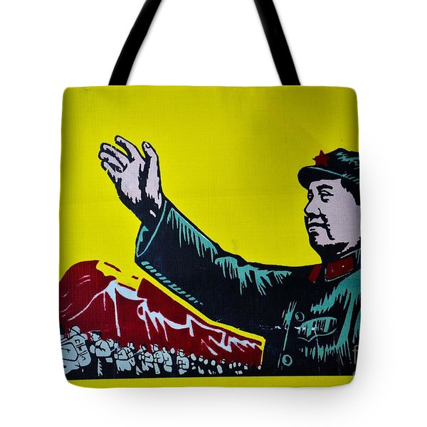 Chinese Communist Propaganda Poster Art With Mao Zedong Shanghai China Tote Bag