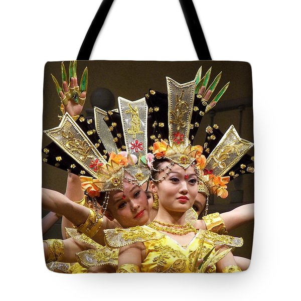 Chinese Dancers Perform Thousand Hands Guan Yin Tote Bag by Lingfai Leung