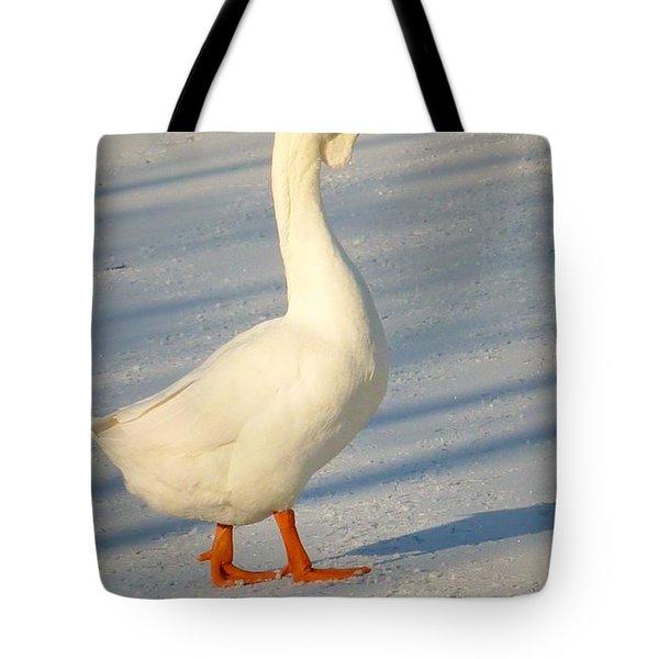 Chinese Goose Winter Tote Bag by Susan Garren