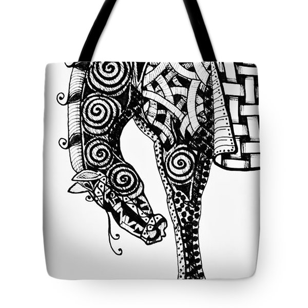 Chinese Horse - Zentangle Tote Bag