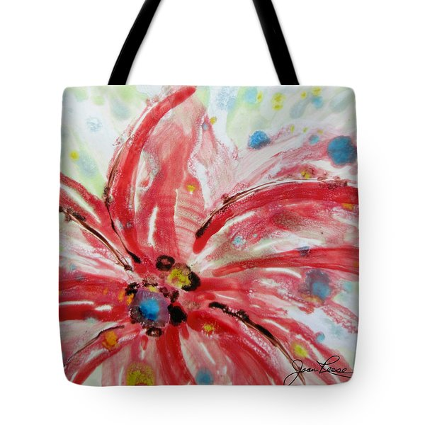 Tote Bag featuring the painting Chinese Red Flower by Joan Reese