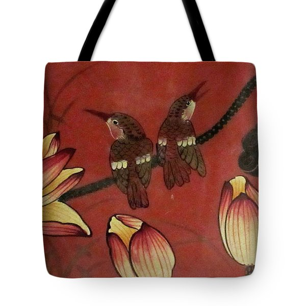 Chinese Red Lacquer Chest Detail Tote Bag