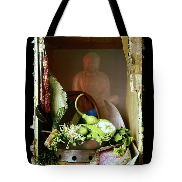 Chinese Statue With Cooking Items Tote Bag