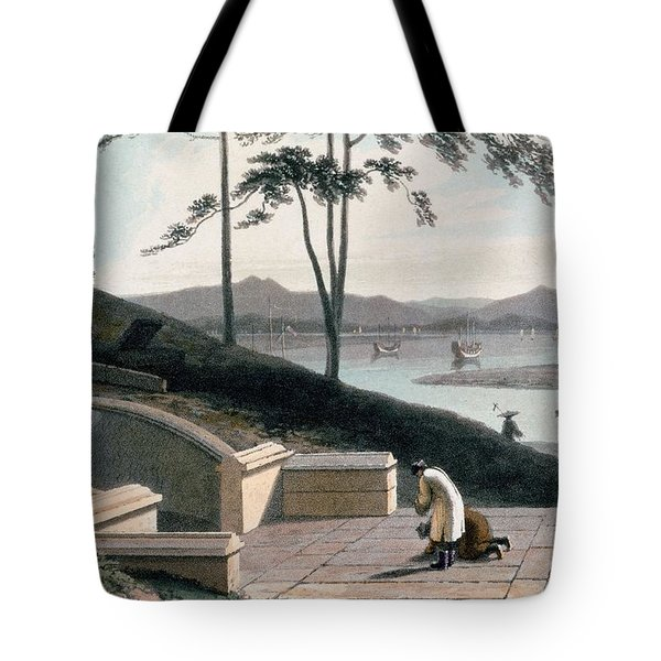 Chinese Tomb With Two Mourners Tote Bag by Thomas & William Daniell