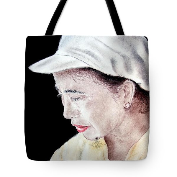 Tote Bag featuring the drawing Chinese Woman With A Facial Mole by Jim Fitzpatrick