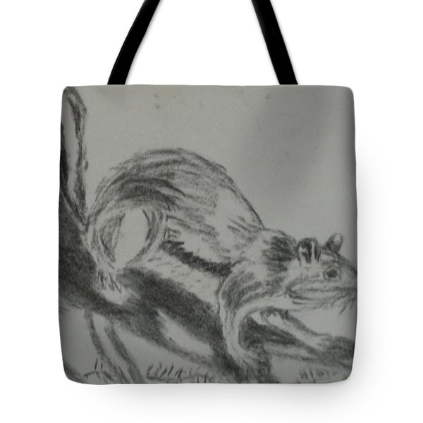 Chipmunk On The Prowl Tote Bag by Thomasina Durkay