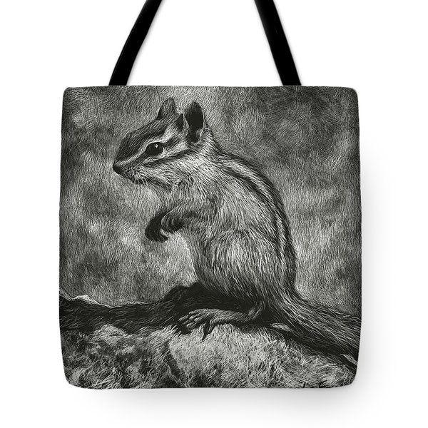 Tote Bag featuring the drawing Chipmunk On The Rocks by Sandra LaFaut