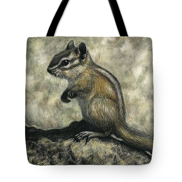 Tote Bag featuring the drawing Chipmunk  by Sandra LaFaut