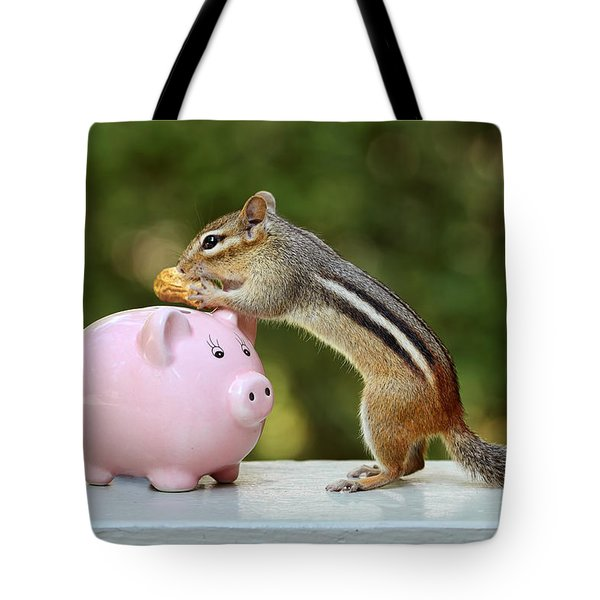 Chipmunk Saving Peanut For A Rainy Day Tote Bag