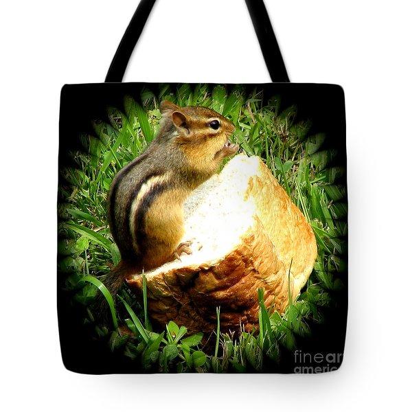 Chipmunk Saying Grace Tote Bag by Rose Santuci-Sofranko