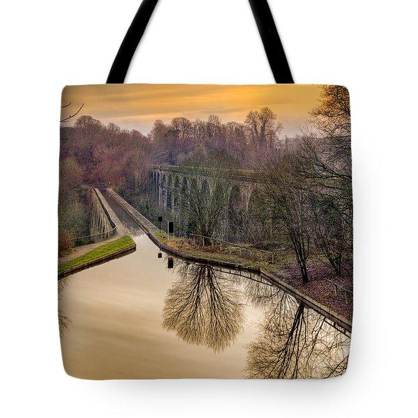 Chirk Aqueduct Tote Bag by Adrian Evans