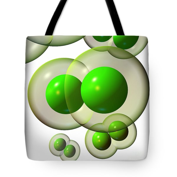Tote Bag featuring the digital art Chlorine Molecule 3 White by Russell Kightley