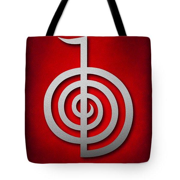 Cho Ku Rei - Silver On Red Reiki Usui Symbol Tote Bag by Cristina-Velina Ion