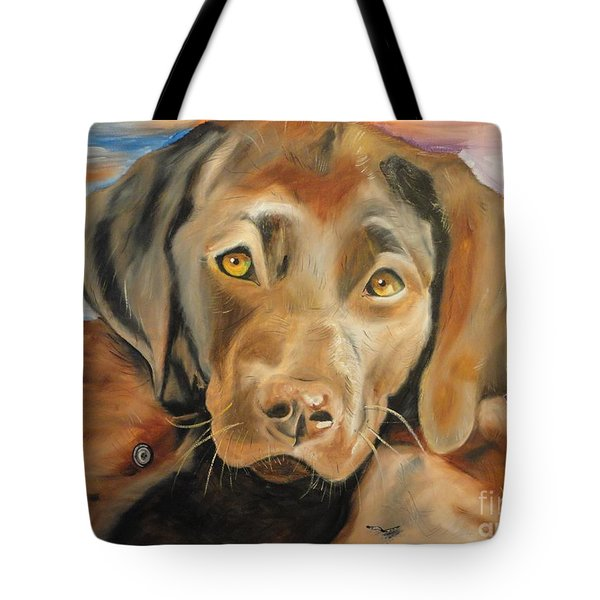 Chocolat Labrador Puppy Tote Bag by PainterArtist FIN