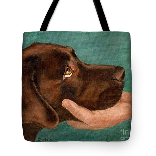 Chocolate Lab Head In Hand Tote Bag