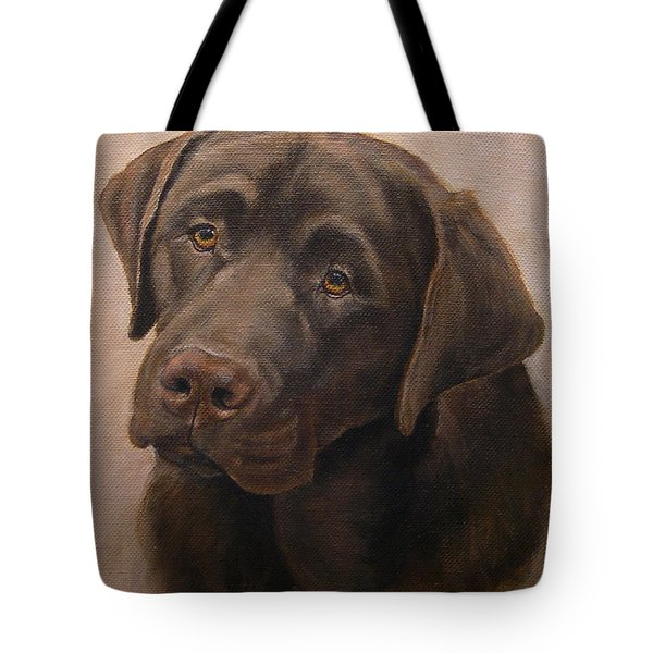 Chocolate Labrador Retriever Portrait Tote Bag by Amy Reges