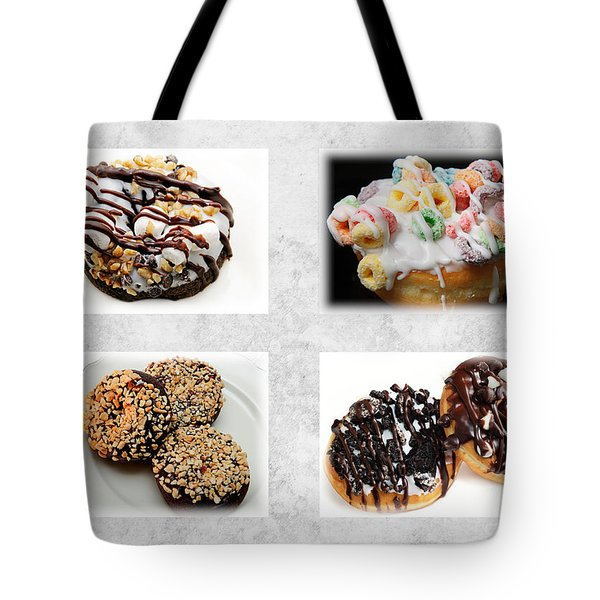Choice Of Donuts 4 X 4 Collage 1 - Bakery - Sweets Shoppe Tote Bag by Andee Design