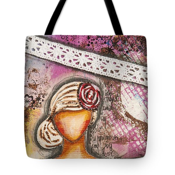 Choose Your Own Story Inspirational Mixed Media Folk Art  Tote Bag by Stanka Vukelic