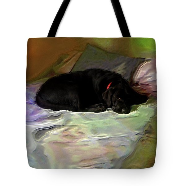 Tote Bag featuring the mixed media Chopper Dreams Of Beds by Terence Morrissey