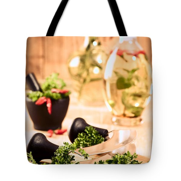 Chopping Herbs Tote Bag by Amanda Elwell