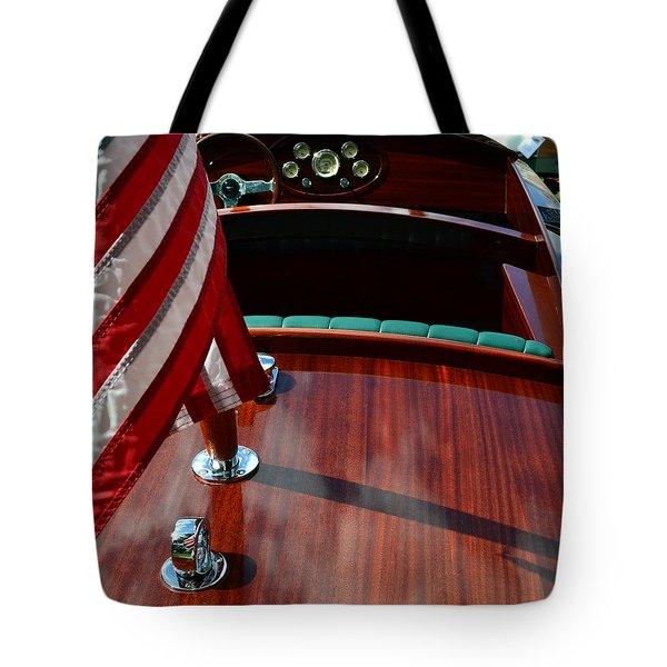Chris Craft With Flag And Steering Wheel Tote Bag